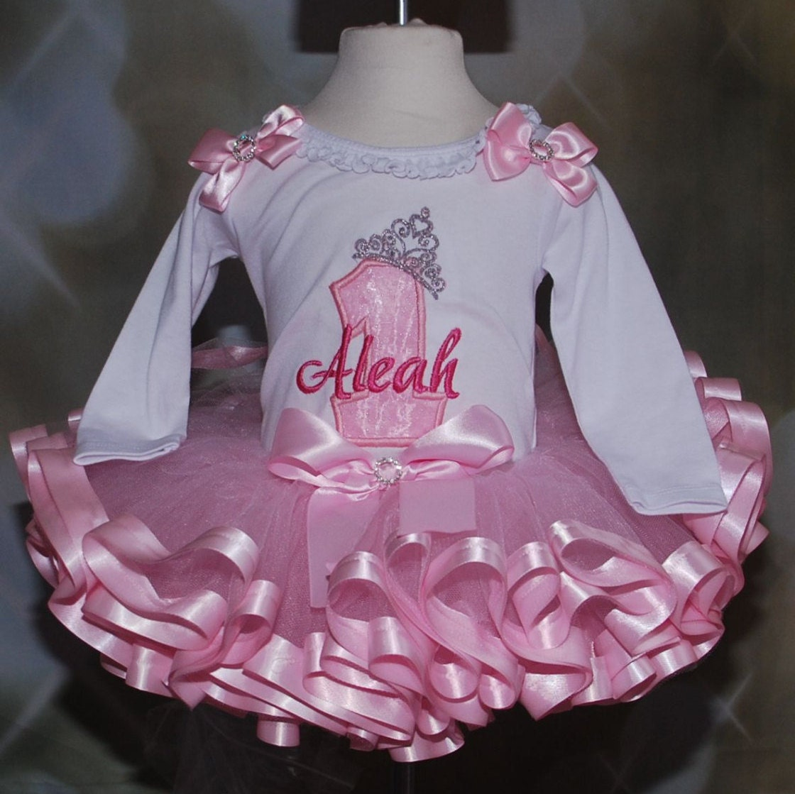1st Birthday Princess  Tutu Outfit number 1 with tiara  ribbon trim tutu set, 1st birthday girl outfit with personalized onesie, tutu dress