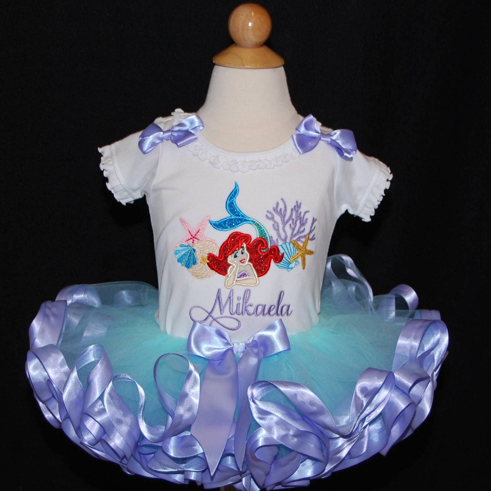 little mermaid birthday tutu outfit Ariel birthday outfit cake smash outfit girl under the sea tutu set ocean theme mermaid tutu dress girl