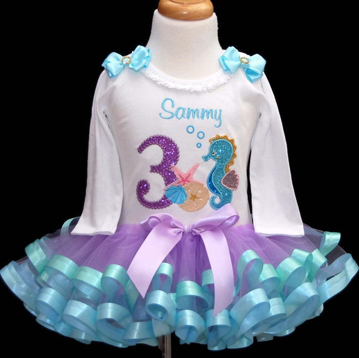 3rd birthday outfit girl , Under the Sea Birthday Tutu Outfit, Ocean Theme birthday tutu dress, toddler tutur birthday set, mermaid birthday