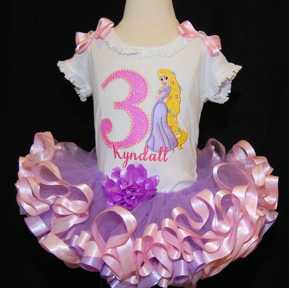 Rapunzel Tangled Disney Princess 3rd Third  Birthday Girl Tutu Shirt Outfit