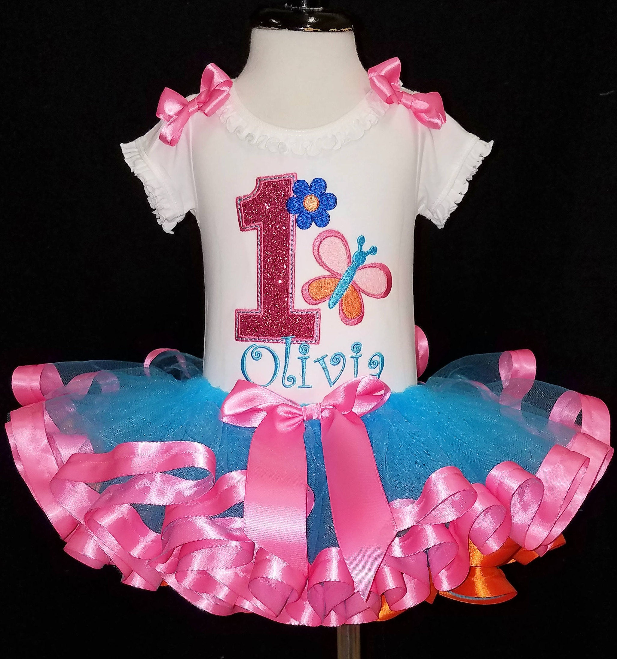 1st birthday outfit baby girl butterfly and flower first birthday girl outfit butterfly birthday ribbon trim tutu cake smash set tutu dress