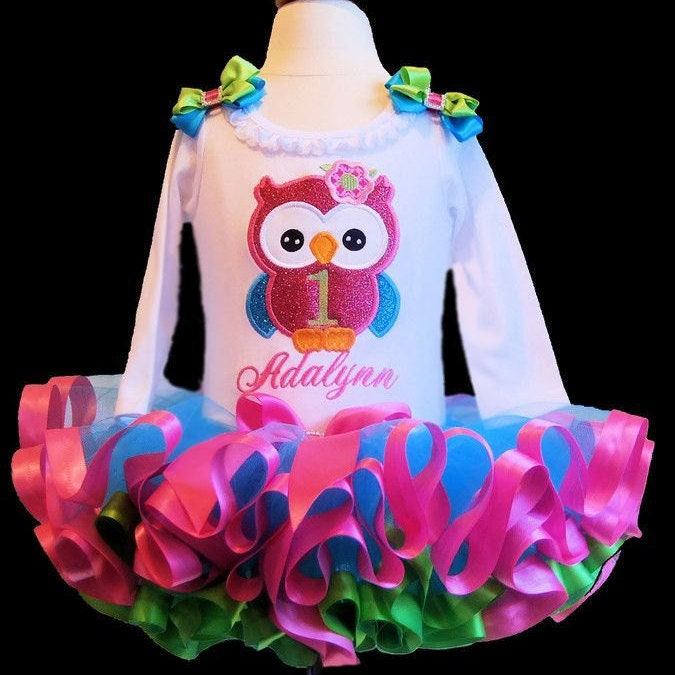 birthday tutu outfit owl 1st birthday girl outfit first birthday tutu dress toddler tutu  glitter owl birthday outfit ribbon trim tutu