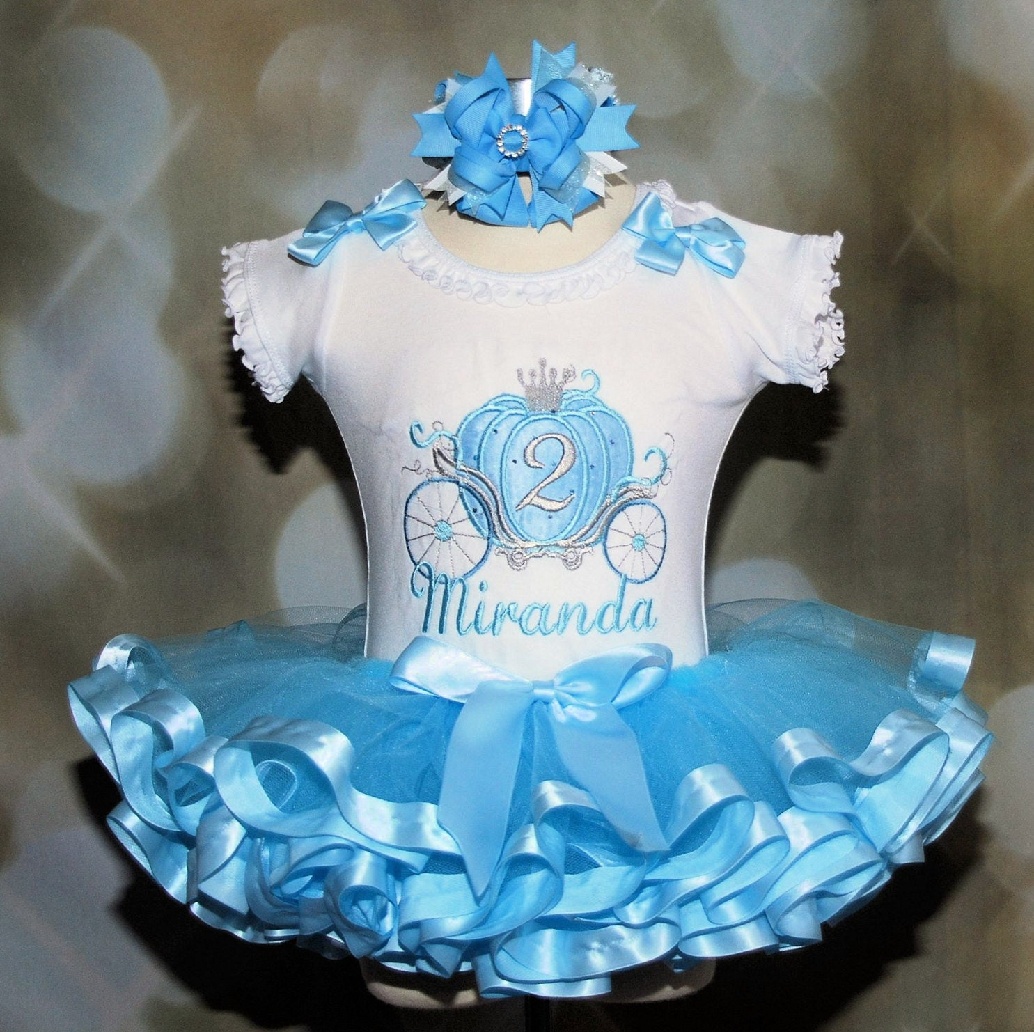 Cinderella Carriage Princess 2nd Birthday Tutu Outfit, Blue and Silver , Baby tutu, Princess 1st  birthday tutu dress Fancy Cinderella tutu