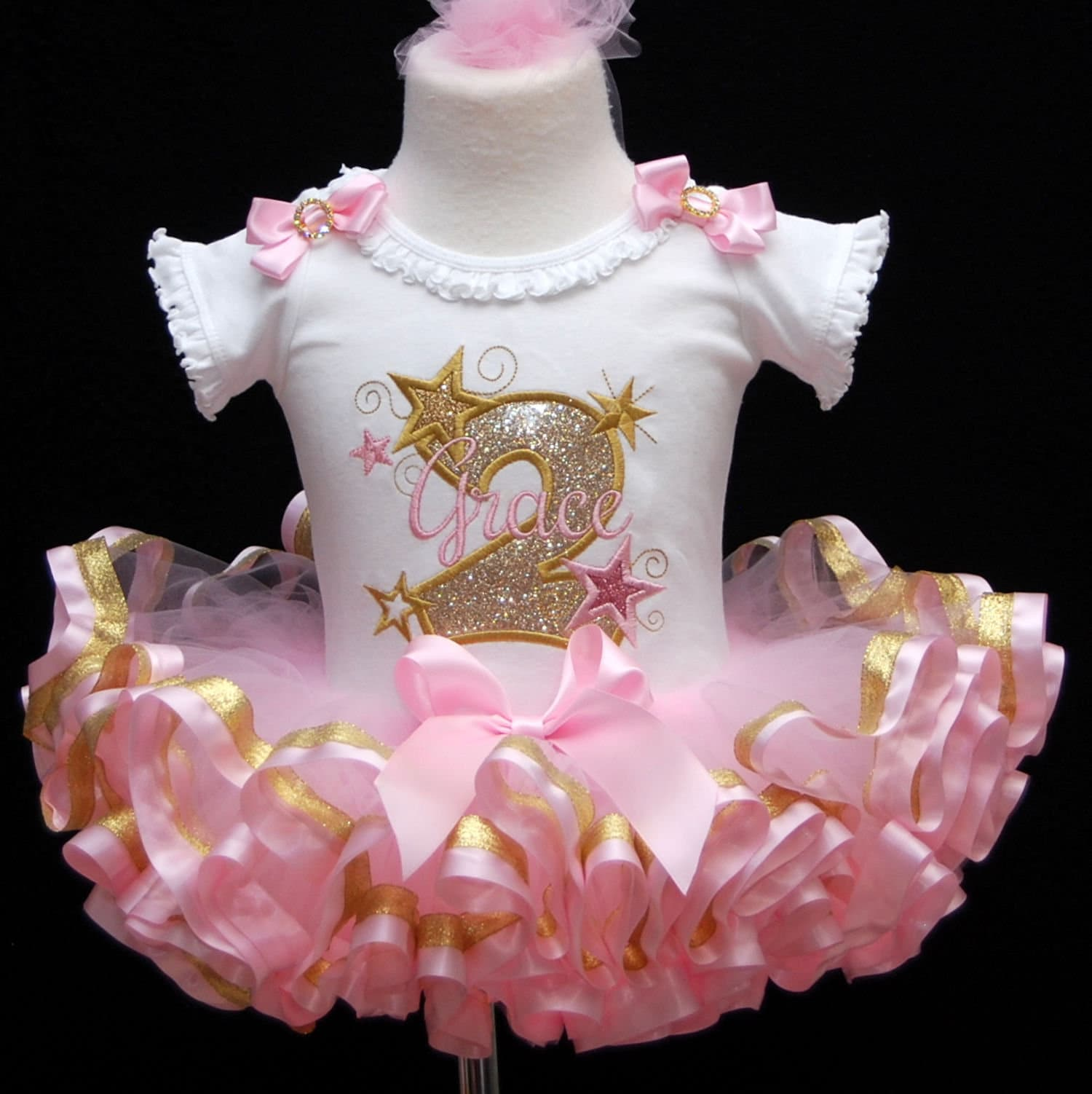 2nd birthday outfit girl,  cake smash outfit, personalized birthday onesie, ribbon trim tutu, glitter birthday dress, toddle tutu dress