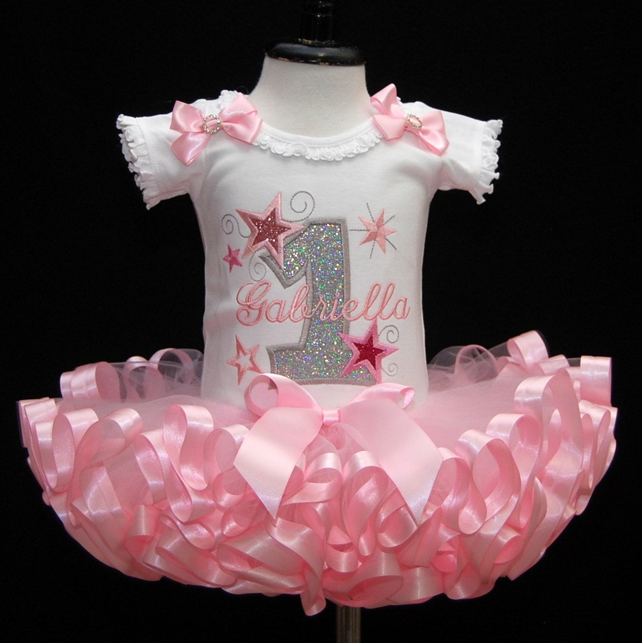 1st birthday girl outfit pink tutu silver glitter stars