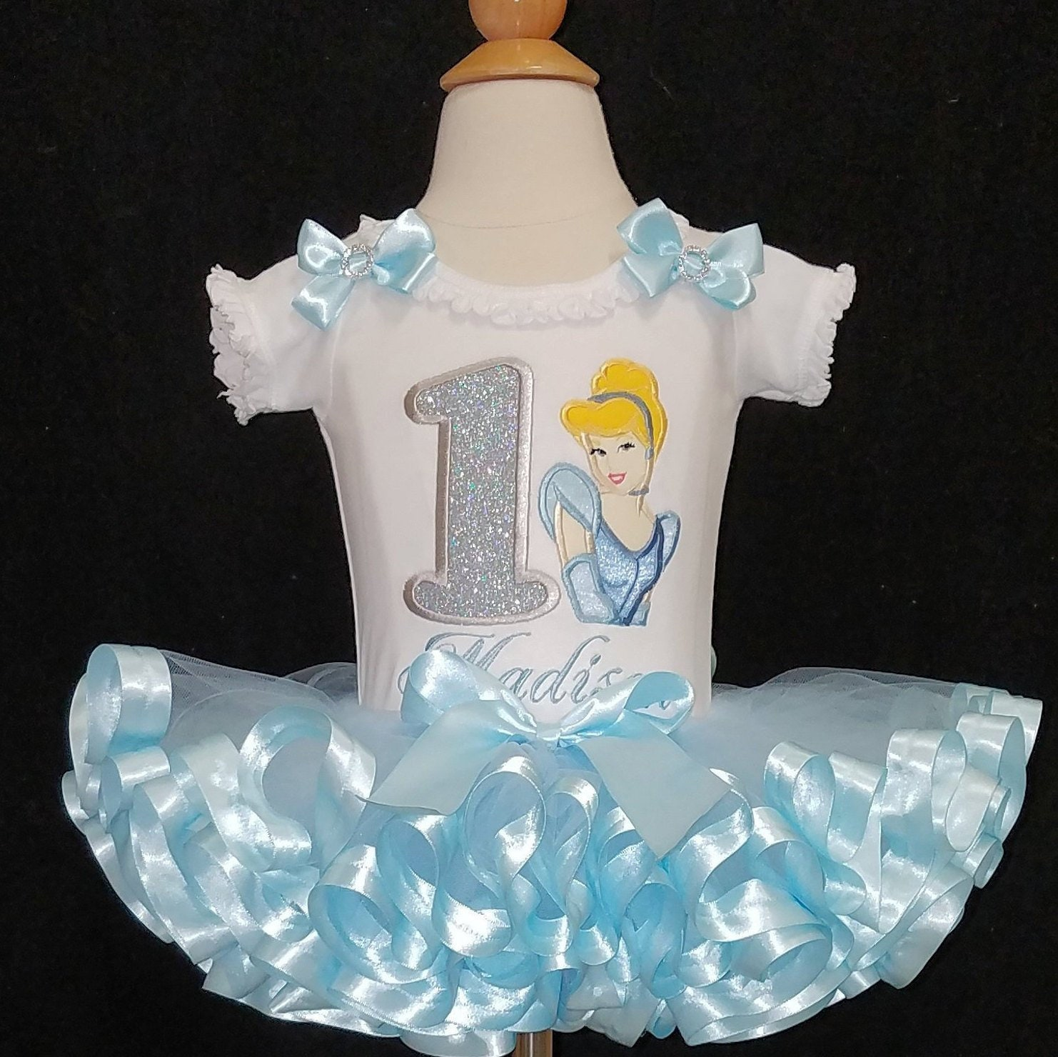 1st birthday tutu, princess birthday outfit, custom made Cinderella first birthday tutu dress, personalized onesie, ribbon trim tutu set,