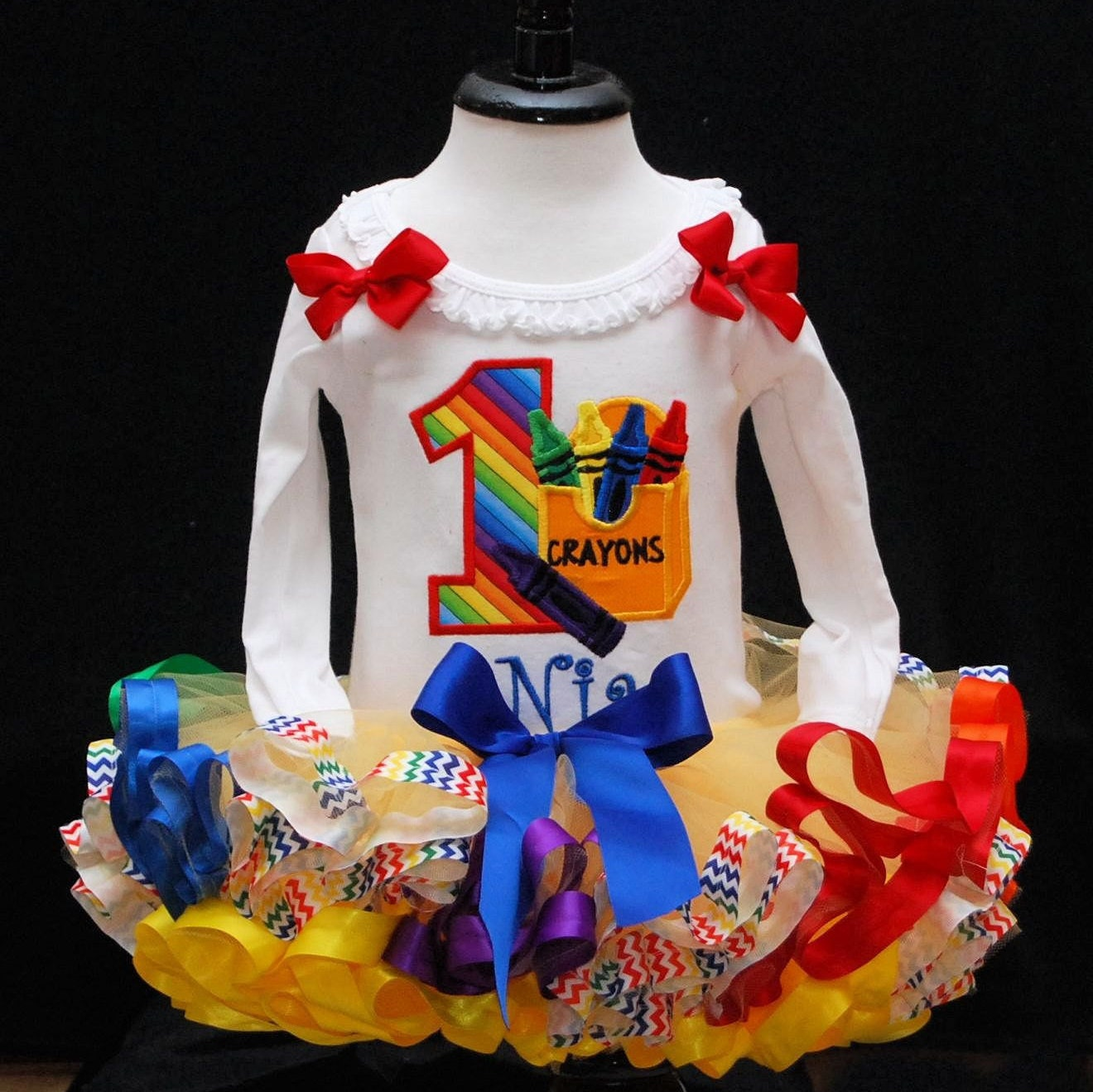 1st Birthday girl outfit, Crayon Tutu Outfit, long sleeve