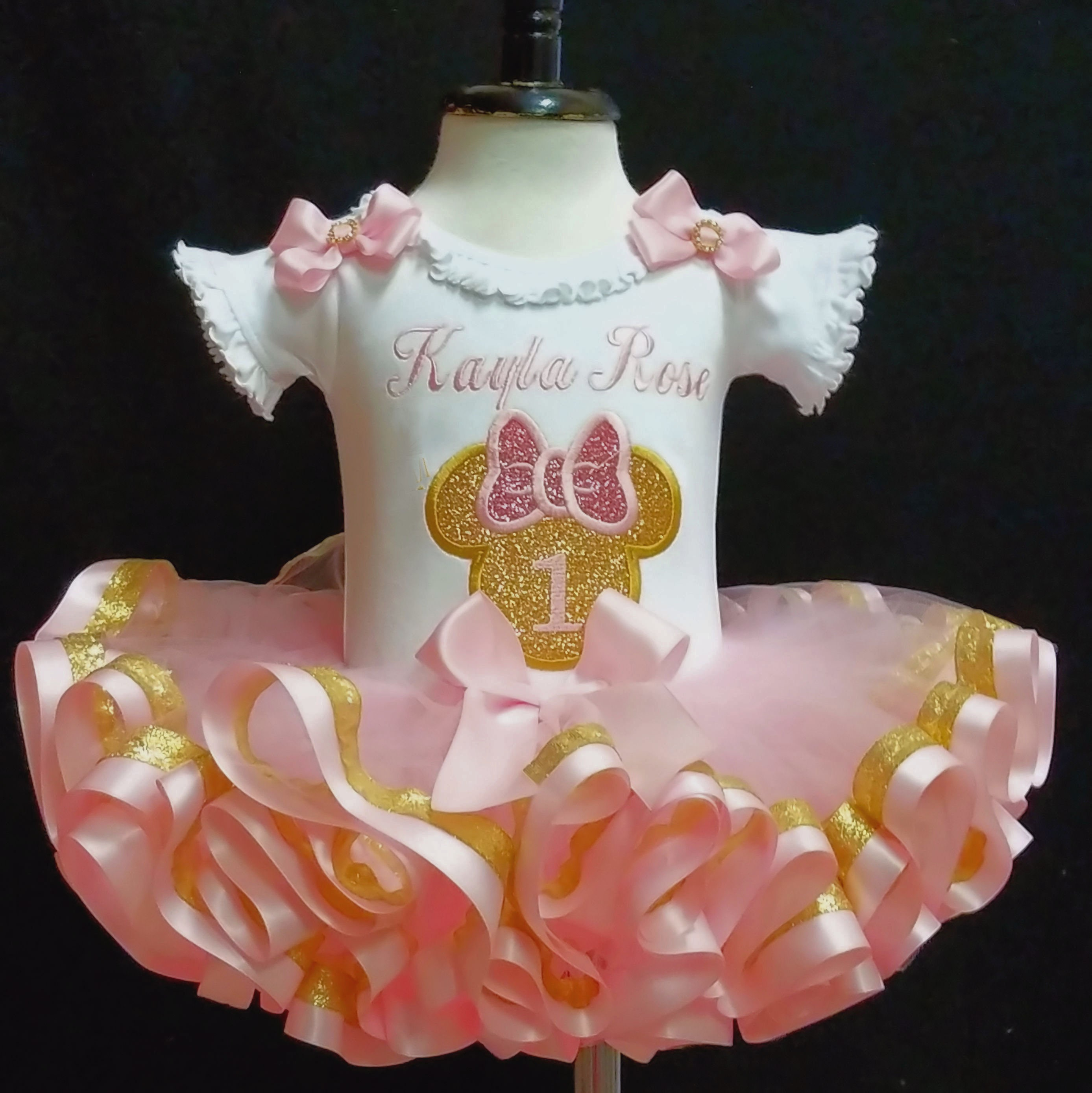 1st birthday girl outfit pink and gold glitter Minnie Mouse Icon