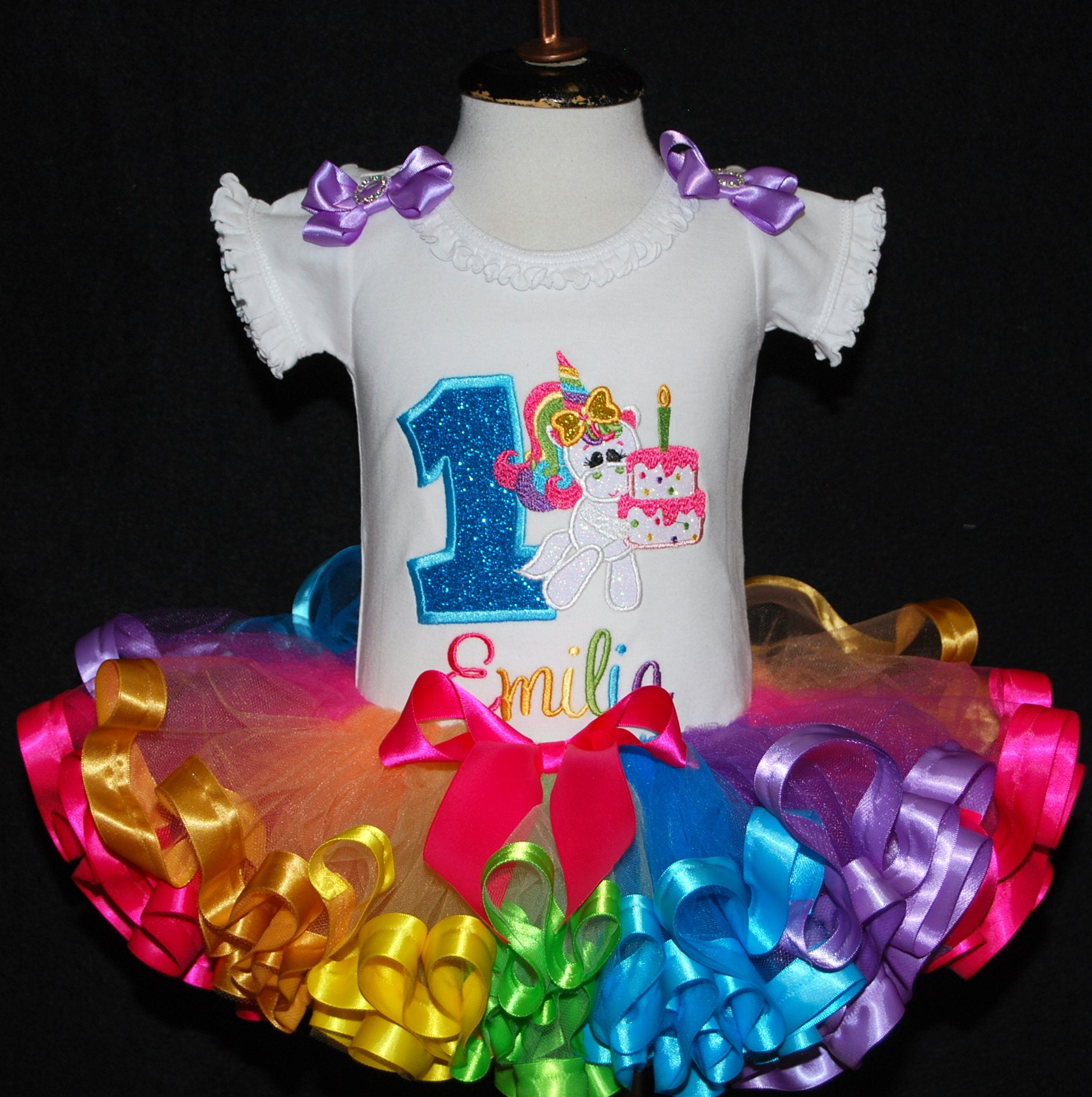 1st birthday girl outfit rainbow unicorn birthday tutu outfit