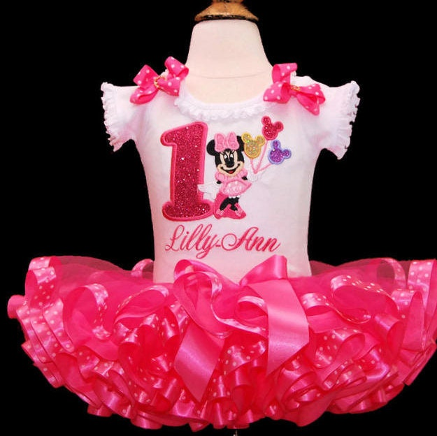 Minnie Mouse 1st birthday outfit 1st birthday tutu first birthday tutu 1st  birthday girl outfit tutu dress personalized ribbon trimmed tutu