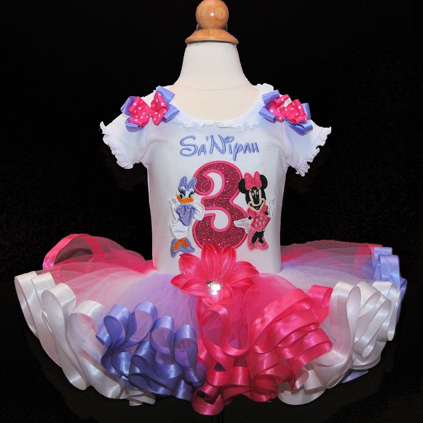 Ribbon Trimmed  Minnie Mouse and Daisy Duck 3rd Birthday Tutu outfit Sparkle Collection. 2 pc top and ribbon trimmed tutu only