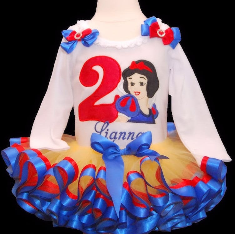Snow White Birthday Outfit princess birthday dress snow white birthday shirt personalized tutu outfit 2nd birthday tutu dress baby bloomers