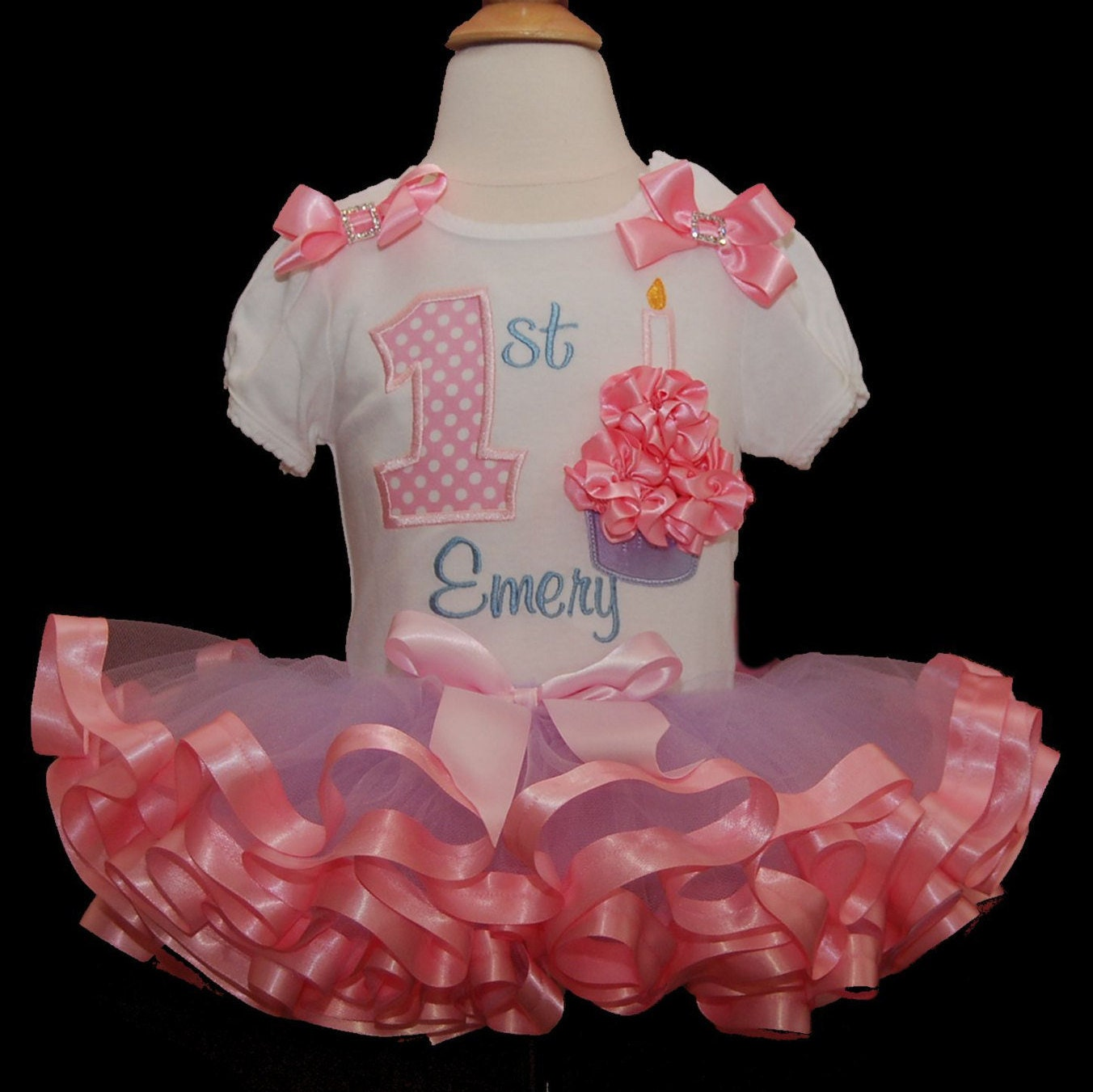 Ribbon 3D Cupcake 1st Birthday Tutu Outfit  in lavender and  pink 2 pieces includes top and tutu only, 1st birthday tutu outfit
