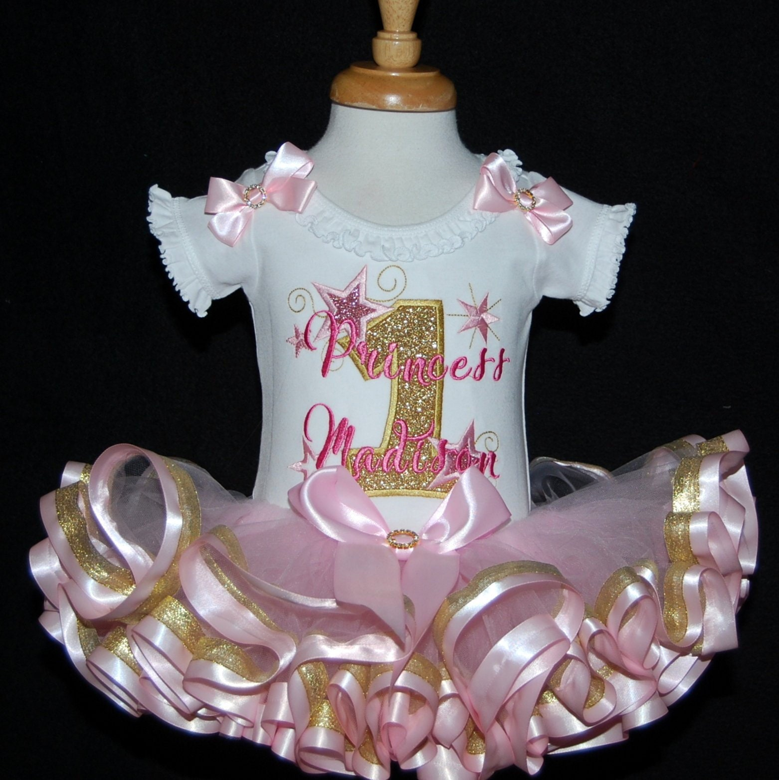 1st birthday princess gold glitter personalized birthday dress