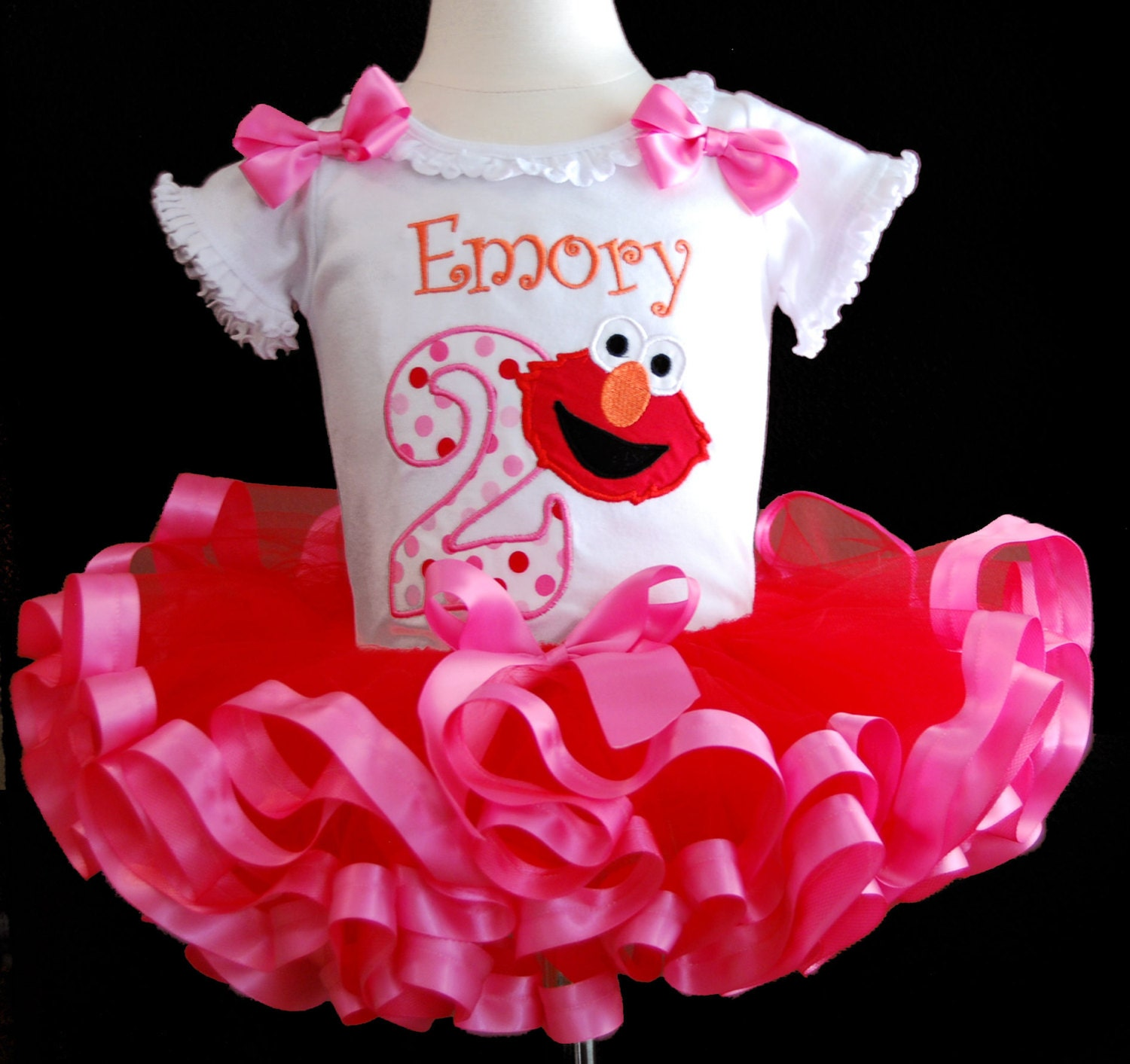 Birthday Tutu Cute Elmo Second Birthday Tutu Outfit  Embroidered top with fluffy ribbon trimmed tutu