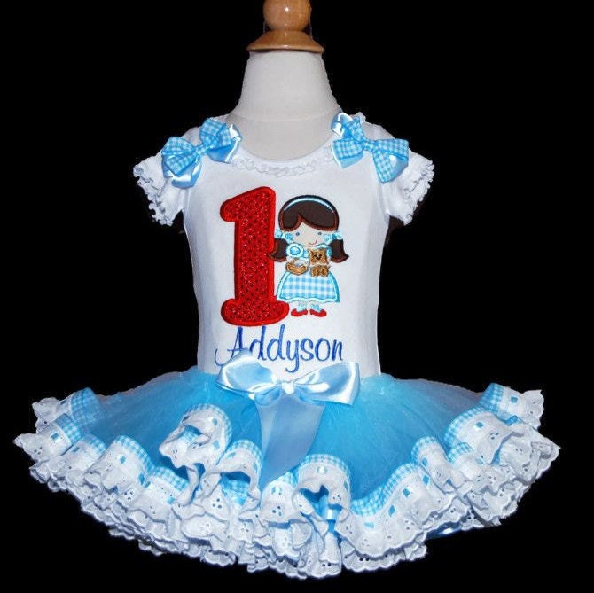 Wizard of Oz, Dorothy and Toto Birthday Number Tutu Outfit 3 pieces includes top, tutu and bloomers