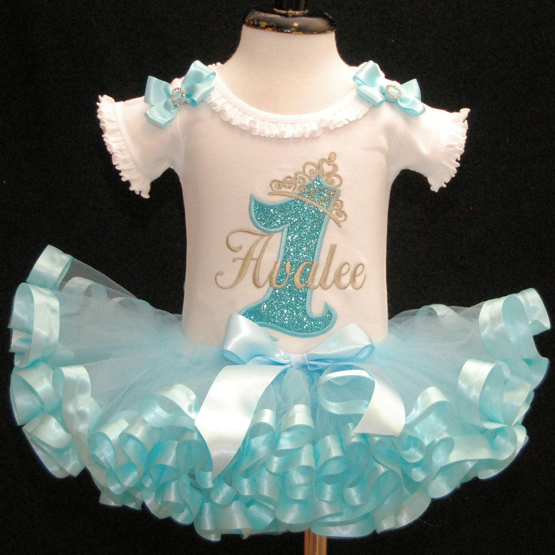 1st Birthday girl outfit princess birthday Blue tiara