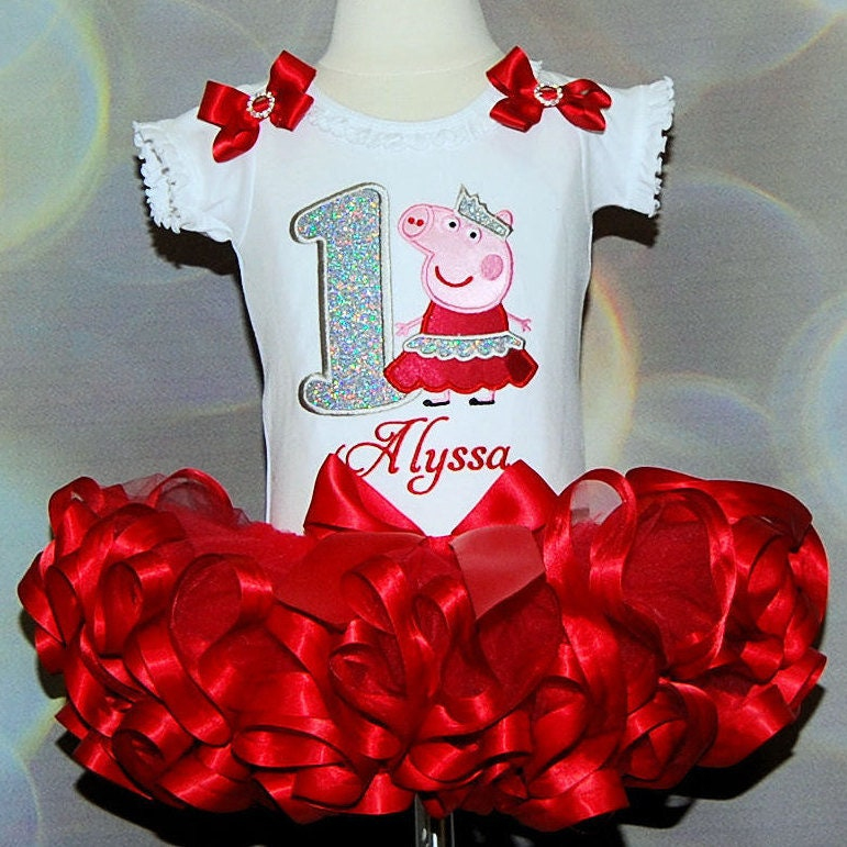 Peppa Pig birthday outfit 1st birthday girl outfit glitter number birthday dress princess peppa 1st birthday ribbon tutu personalized shirt