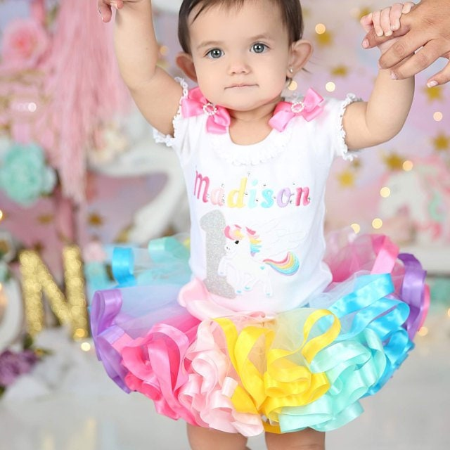 unicorn 1st birthday outfit  smash cake  rainbow  tutu