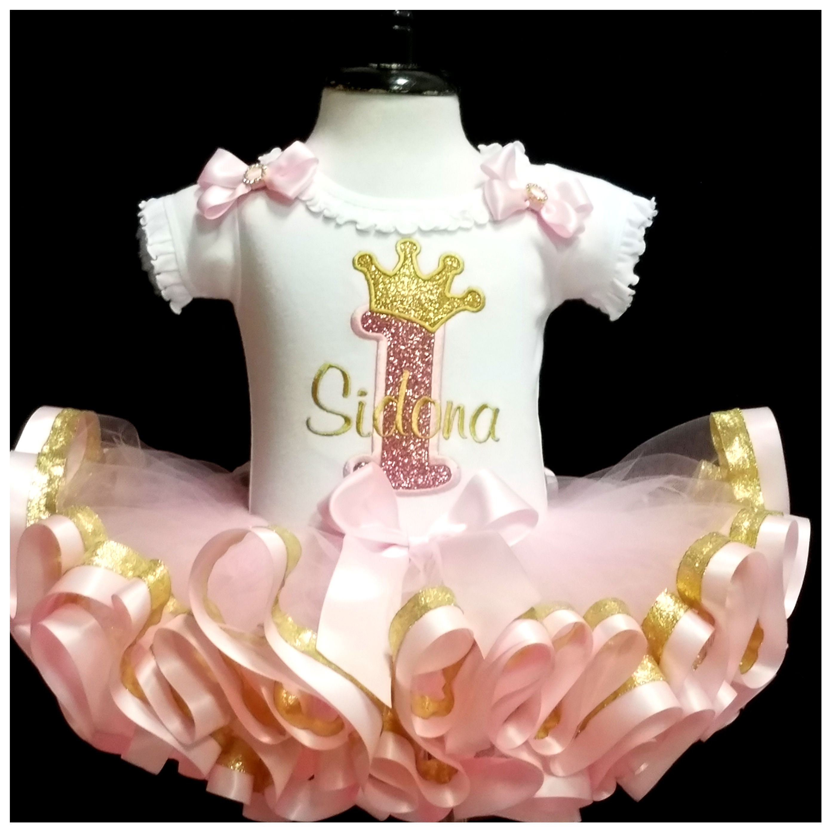 pink and gold birthday outfit 1st birthday pink and gold birthday princess crown birthday set ribbon trimmed tutu outfit bloomers  tiara