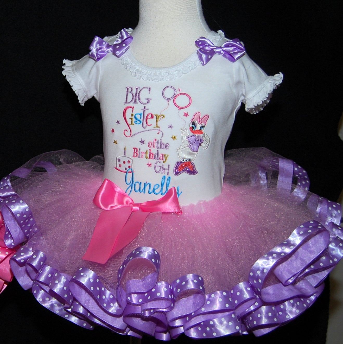 Big Sister of the birthday girl tutu outfit. sibling shirt personalized with matching tutu. This can be custom designed to match any outfit