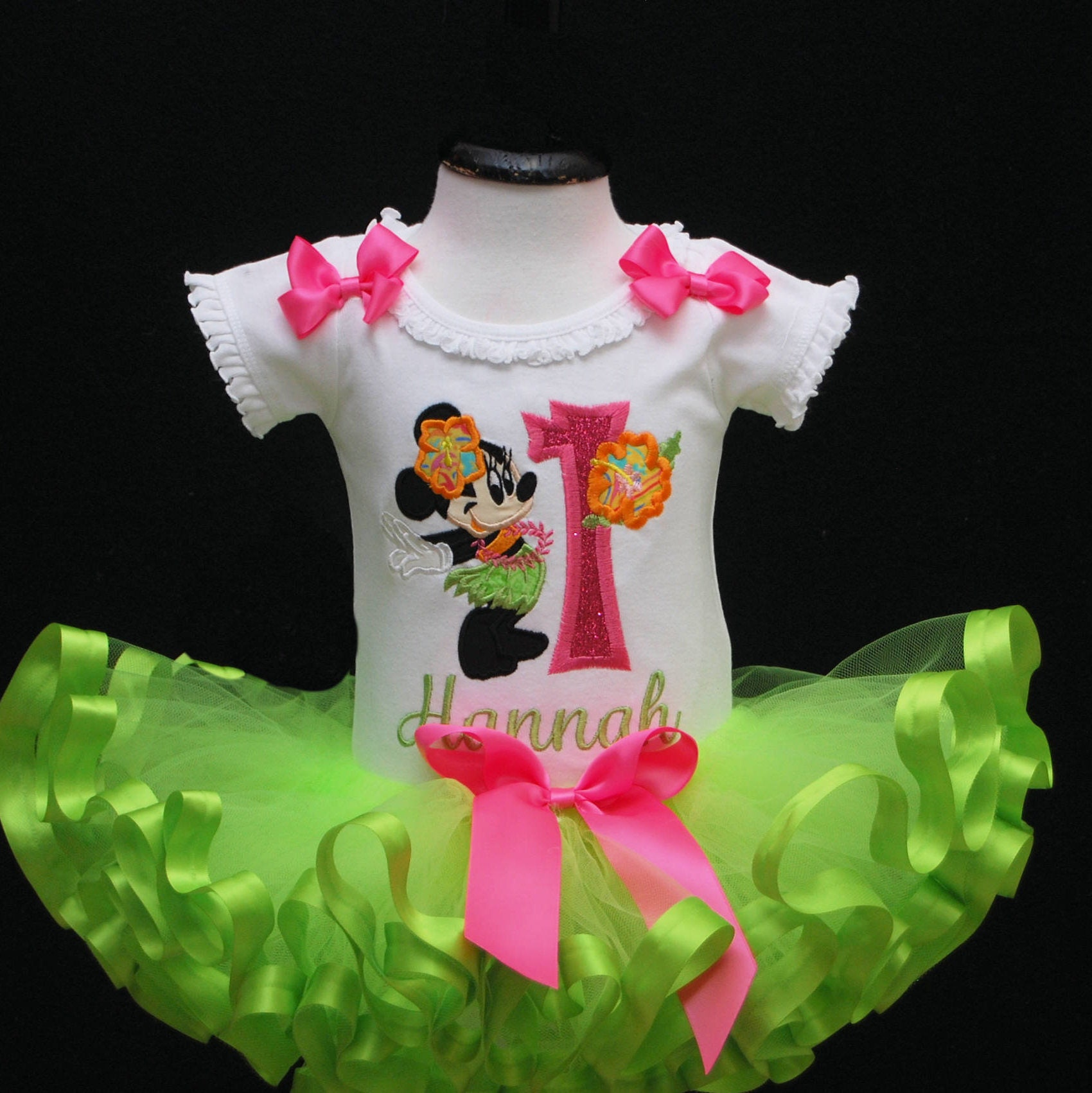 Minnie Mouse, Hula 1st Birthday Outfit, Birthday Dress, Tropical birthday outfit, Minnie Mouse tutu, 1st birthday tutu dress, birthday tutu