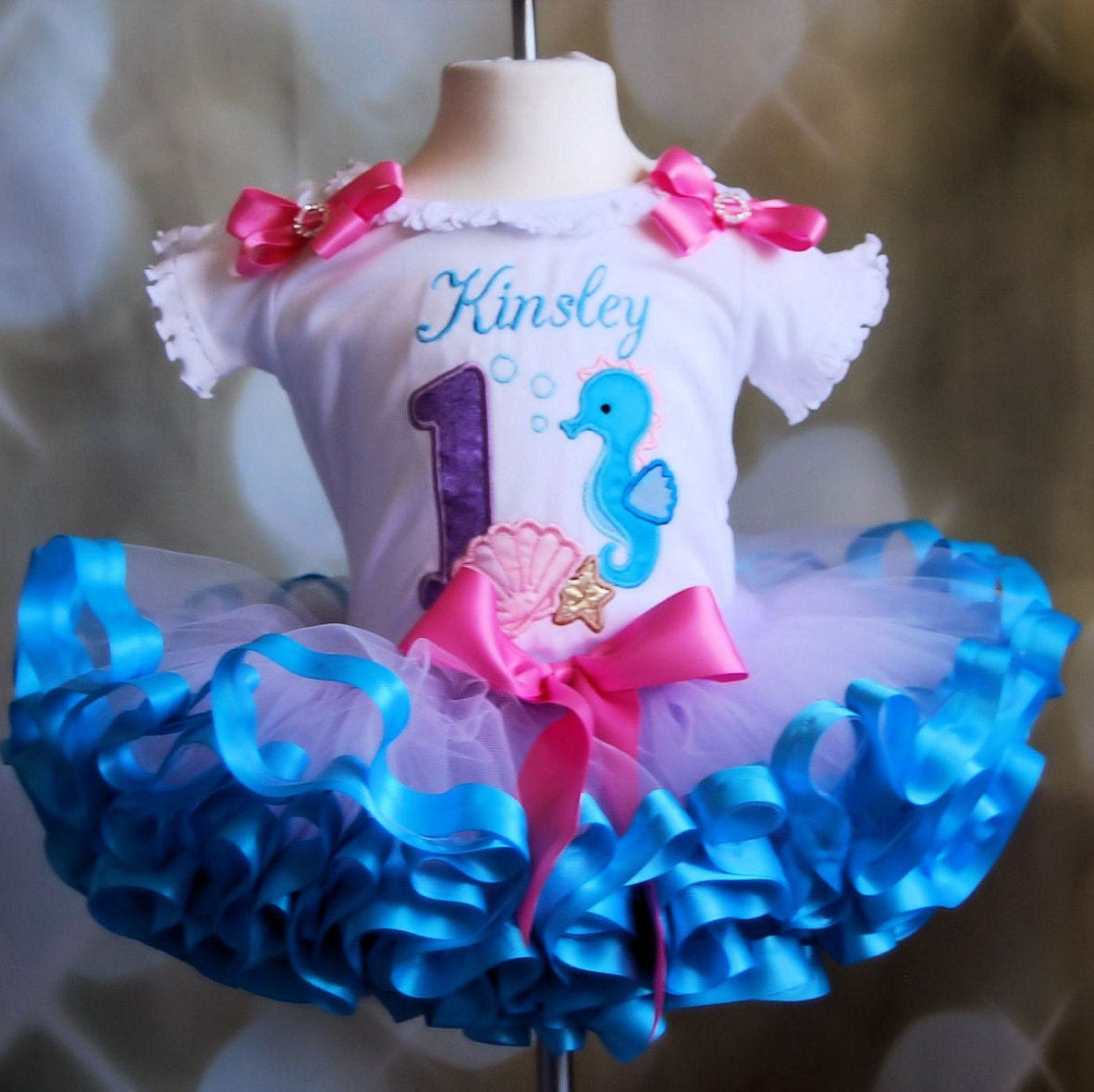 under the sea 1st birthday outfit, first birthday tutu outfit,  ribbon trim birthday outfit, cake smash outfit girl, nautical birthday tutu