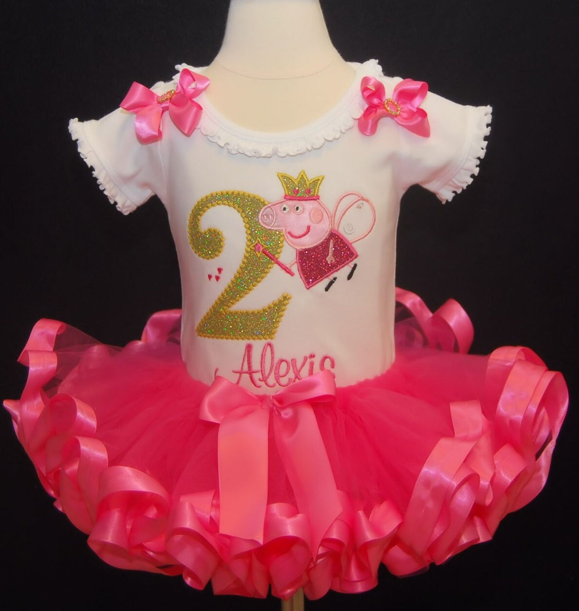 Peppa Pig Birthday Outfit tutu dress 2nd birthday pink tutu personalized birthday shirt ribbon trim tutu bloomers glitter tutu baby headband