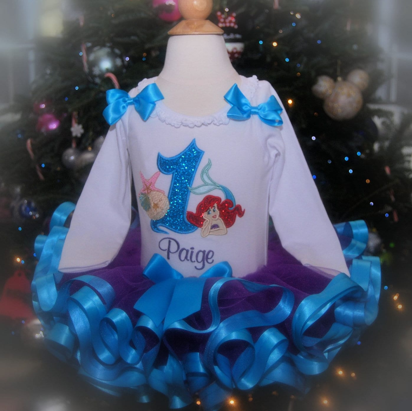 Little Mermaid  Number 1 Birthday Tutu Outfit in Turquoise and Purple