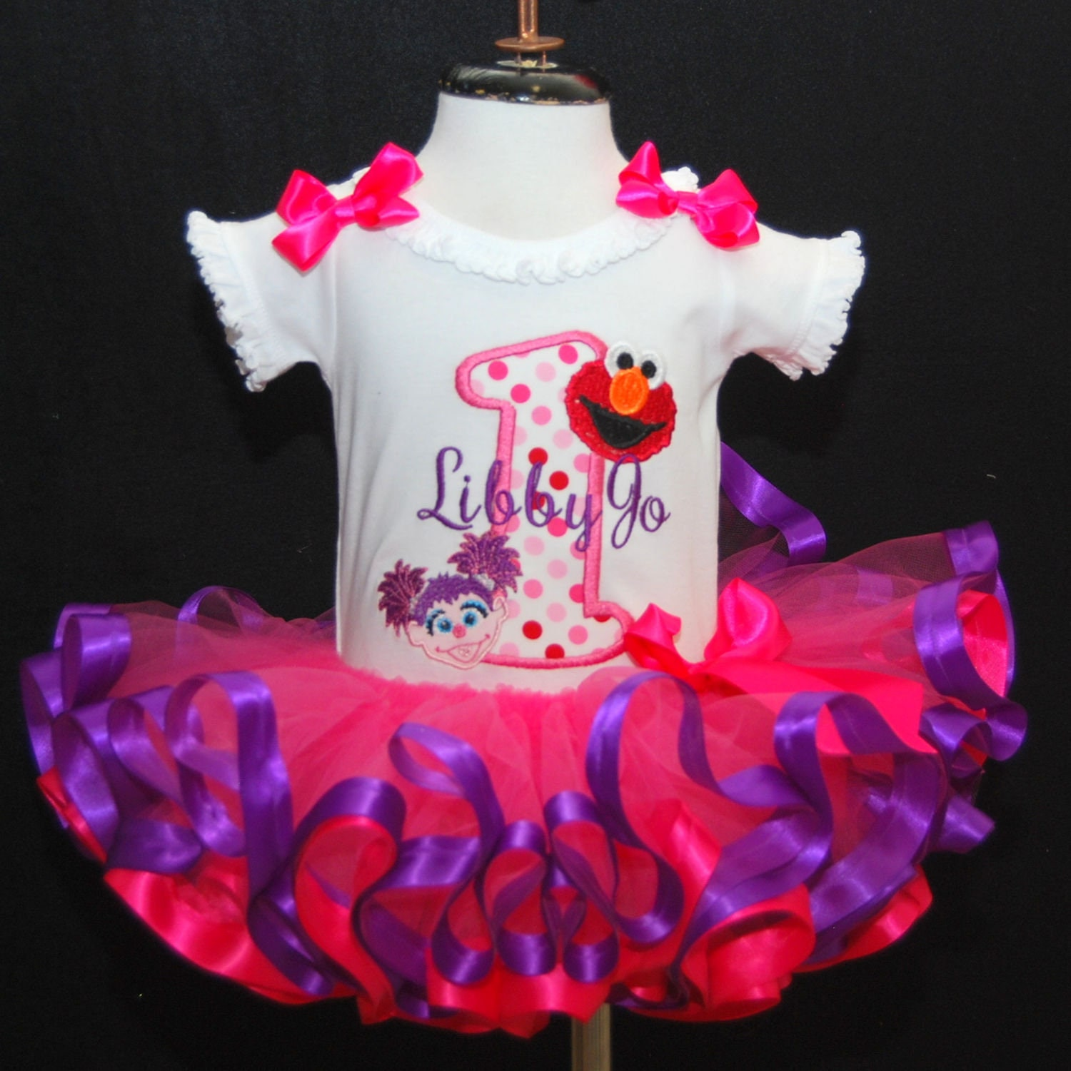 1st birthday girl outfit, elmo and abby 1st birthday outfit with ribbon trimmed tutu set personalize shirt