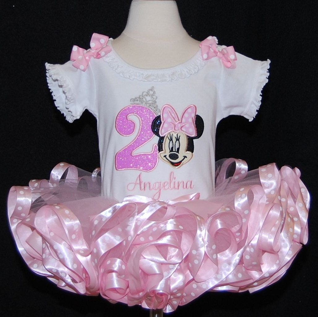 Minnie Mouse Sparkle Princess 2nd Birthday Outfit, pink Tutu Outfit, Ribbon Trim Tutu, Birthday outfit girl, Minnie Mouse tutu dress, tutu