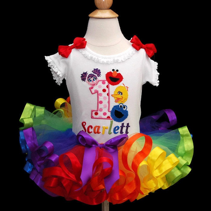 Elmo birthday outfit 1st Birthday outfit Elmo Tutu Outfit Sesame Street birthday outfit ribbon trimmed rainbow tutu elmo and friends