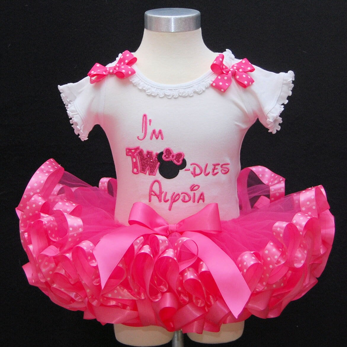 2nd  Birthday Tutu Outfit, Minnie Mouse tutu outfit, I'm Twodles, birthday tutu outfit, cake smash, personalized, ribbon trim tutu outfit
