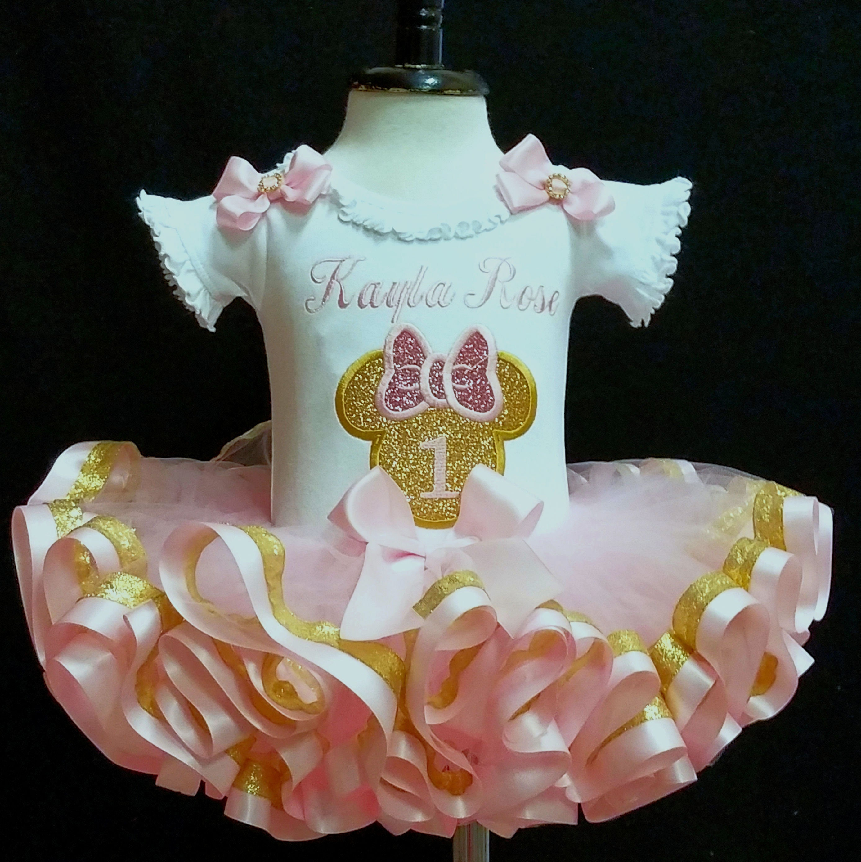 fa245337d pink and gold Minnie mouse birthday outfit 1st birthday minnie mouse pink  and gold birthday baby's