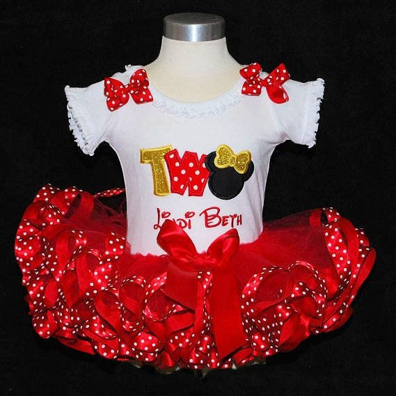 Minnie Mouse birthday outfit, smash cake outfit girl, Minnie Mouse 2nd birthday outfit, baby girl birthday outfit, ribbon trim tutu set