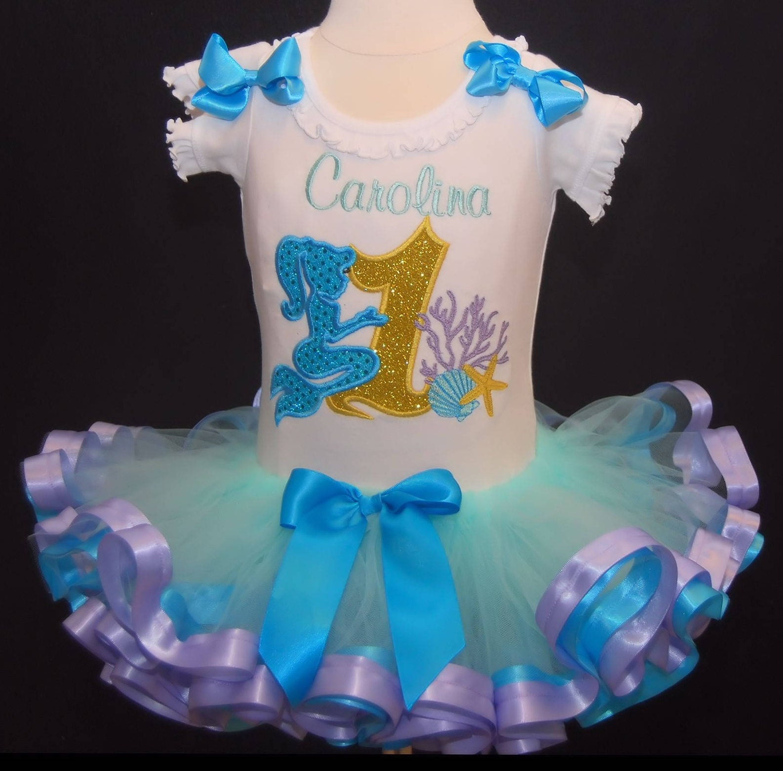 1st birthday outfit, mermaid, Under the Sea, Shells and Coral, Birthday Tutu,