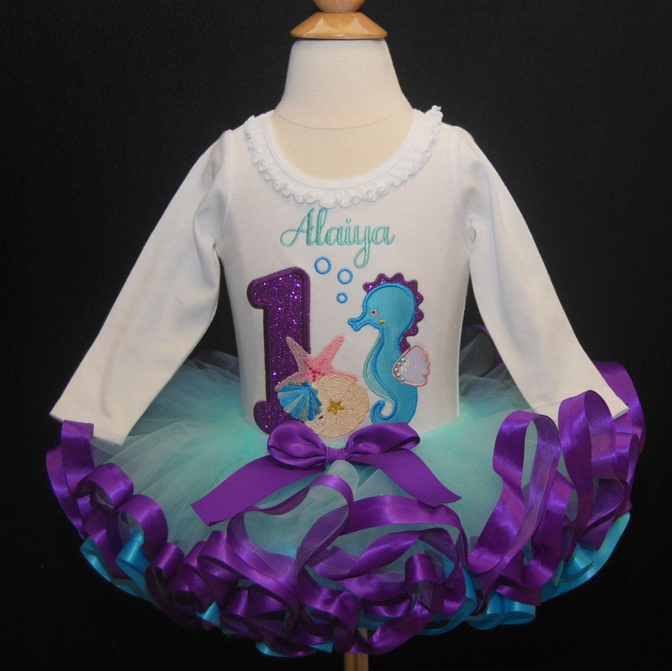 Under the Sea Birthday Tutu Outfit,  Bright Colors 2 pieces Top and  Ribbon Trimmed Tutu Only  Ocean Themed