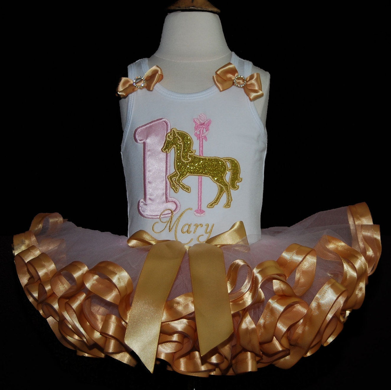 carousel horse birthday tutu 1st birthday outfit pink and gold tutu outfit princess birthday tutu birthday dress cake smash ribbon tutu