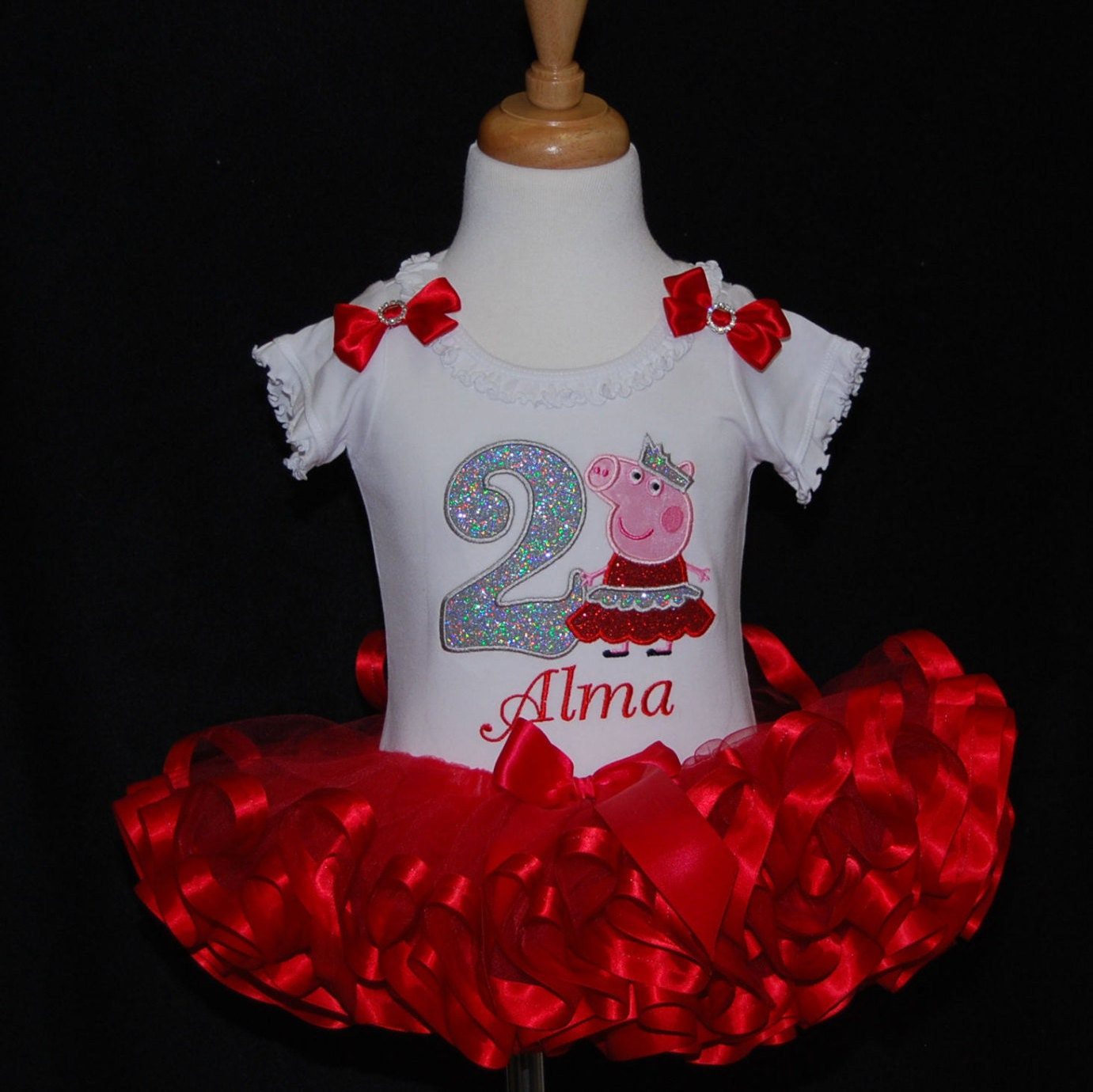 peppa pig birthday outfit 2nd Birthday Tutu Princess Peppa Pig Birthday Outfit toddler tutu birthday dress glitter number birthday shirt