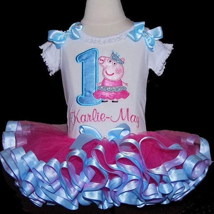 Peppa Pig Birthday Outfit Pink and Blue peppa pig tutu dress 1st birthday girl outfit  baby tutu pink princess birthday outfit baby bloomers