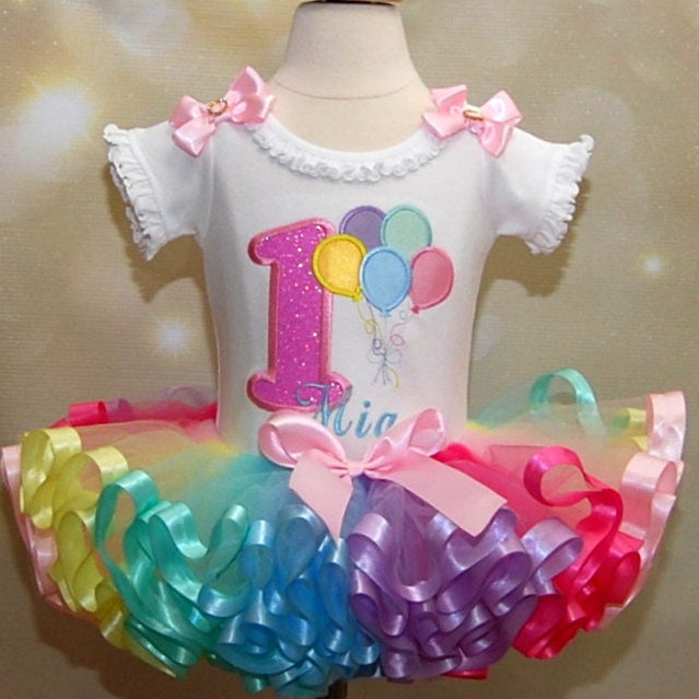 1st birthday girl outfit pastel balloons and rainbow tutu