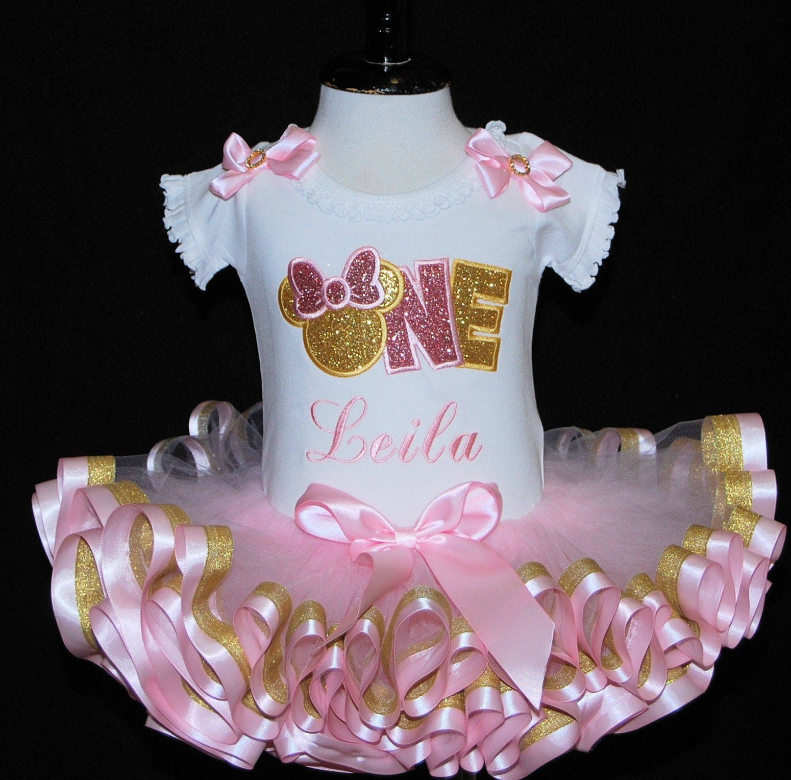 Minnie mouse 1st birthday girl outfit 1st birthday minnie mouse pink and gold birthday baby's 1st birthday outfit girl ribbon trimmed tutu