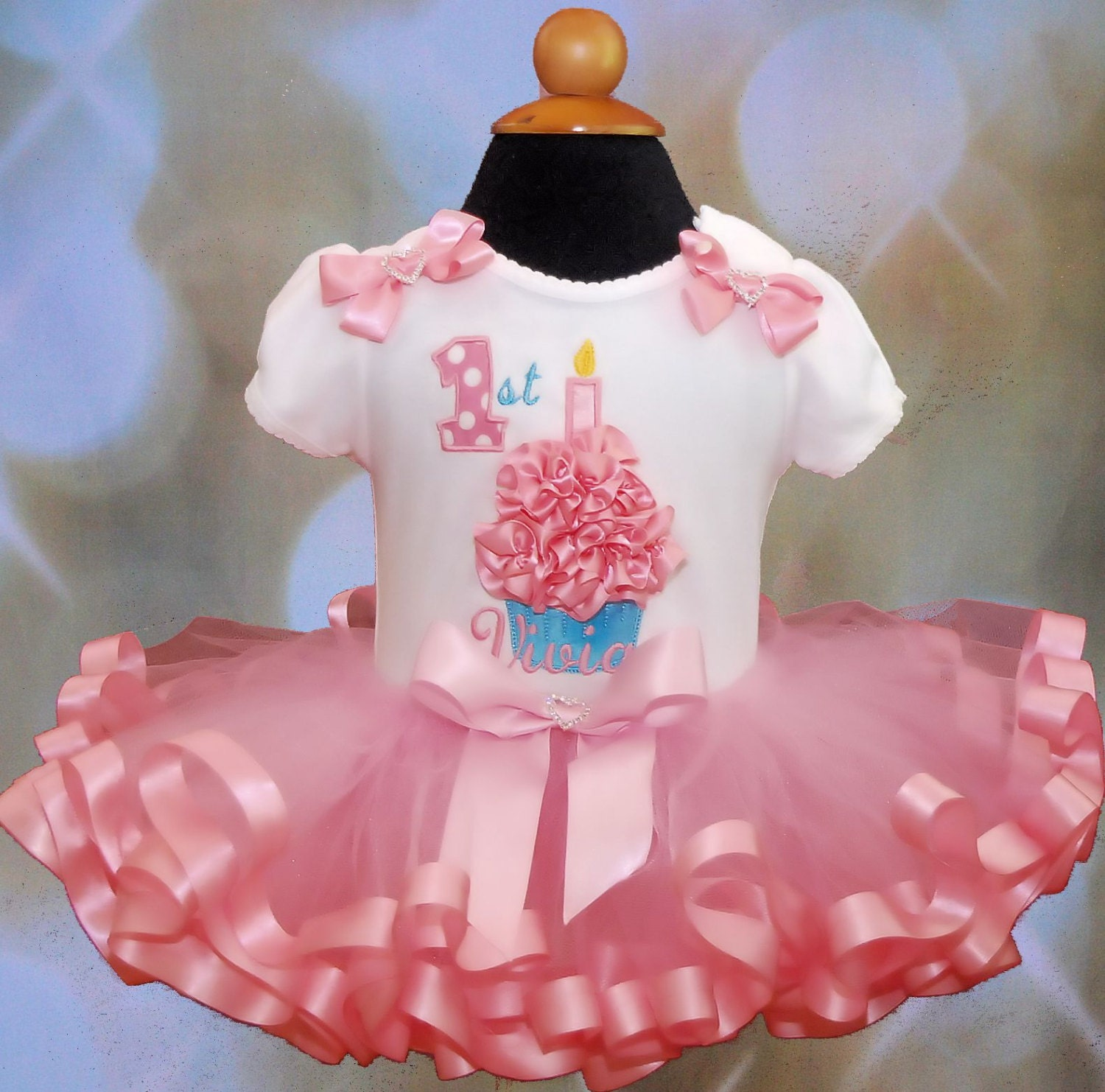 3D Cupcake 1st Birthday girl Outfit 1st birthday tutu dress baby girls' clothing ribbon trim tutu outfit baby girl birthday ribbon cupcake