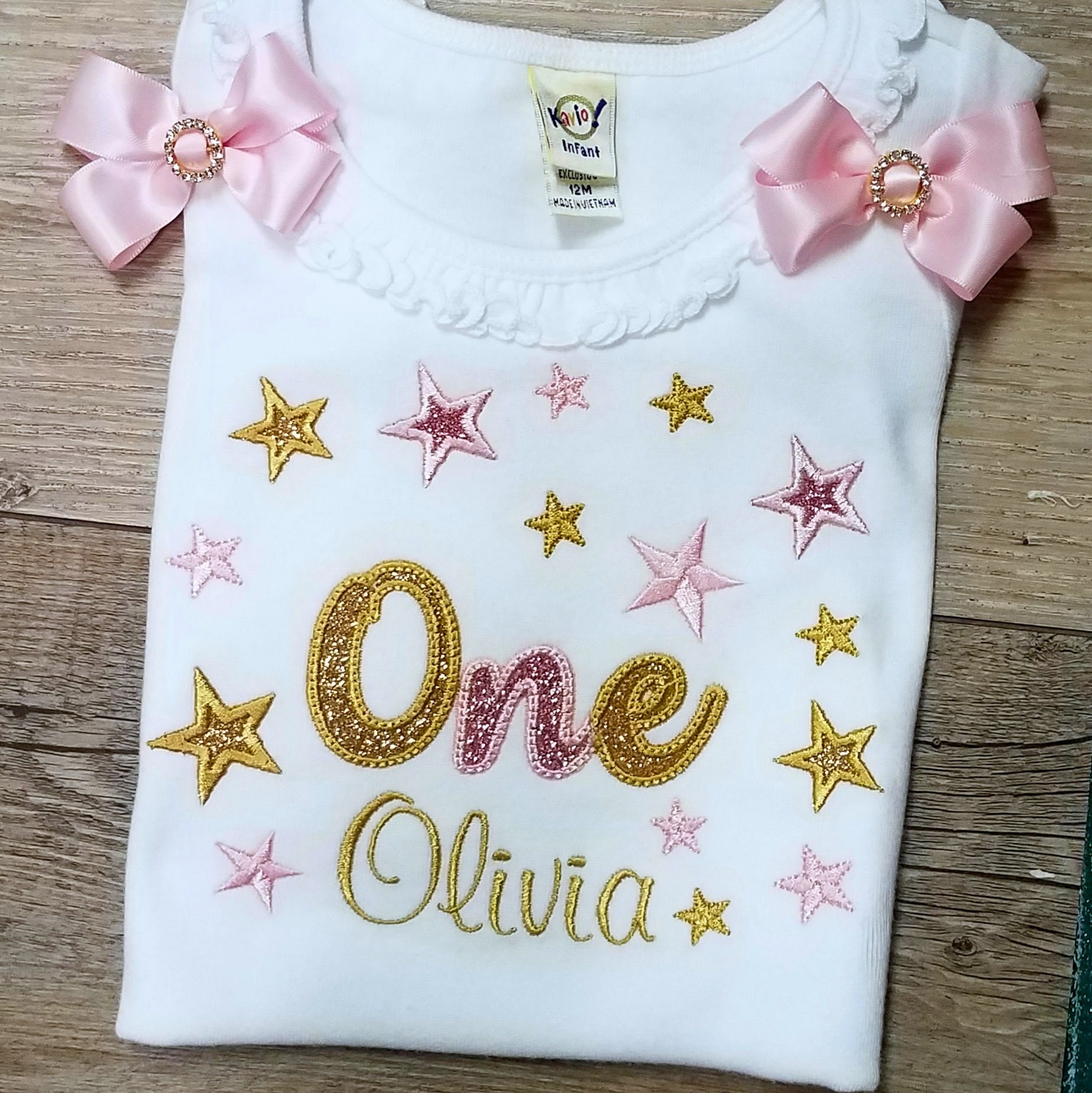 personalized birthday shirt 1st birthday shirt sparkle one birthday shirt with stars, Glitter birthday custom made personalized shirt
