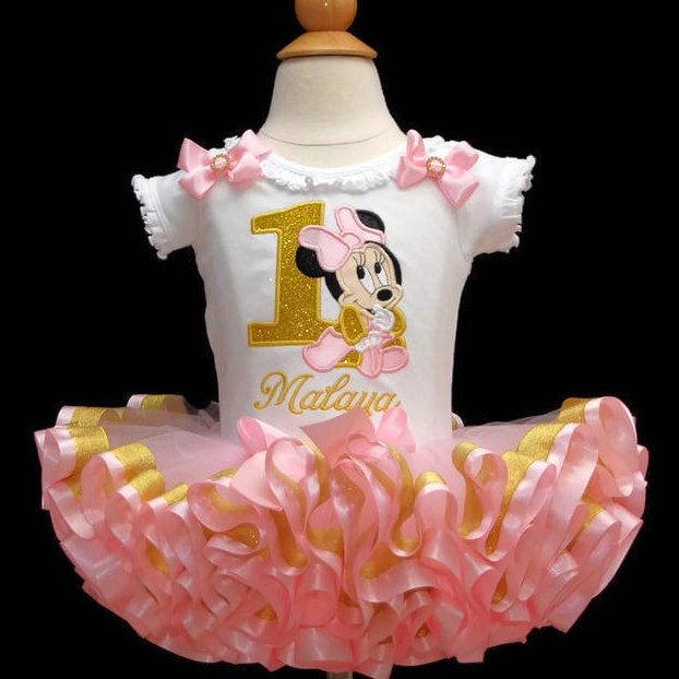 Minnie Mouse 1st Birthday Outfit Pink and Gold 1st birthday girl outfit ribbon trim tutu, baby 1st birthday dress first birthday tutu