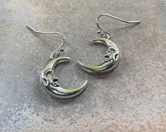 Moon earrings, man in the moon, silver moon earrings, celestial jewellery.