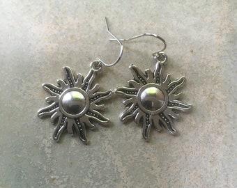 Sun earrings, sun lover gift, Tibetan silver sun earrings, perfect for summer