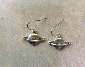 Planet earrings, Saturn earrings, stylish gift earrings, siver planet earrings, perfect for space lover or astronomer