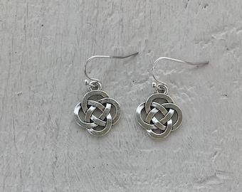 Celtic knot earrings, Welsh lover gift, Tibetan silver Celtic knot earrings, perfect for a myths and legends lover, Welsh themed jewellery.