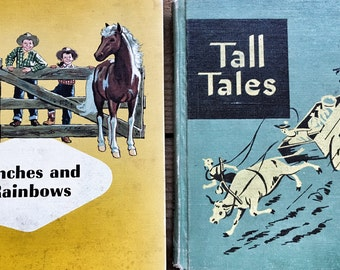 Vintage Childrens Reader Books Reading for Independence aTall Tales and Ginn Basic Reader Ranches and Rainbows